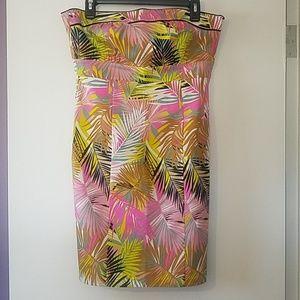 H&M 10 strapless tropical print dress pink yellow